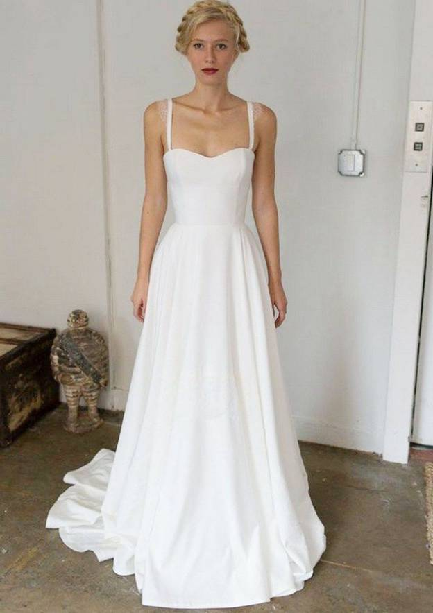 A-Line/Princess Sweetheart Sleeveless Sweep Train Elastic Satin Wedding Dress