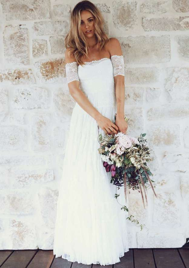 A-Line/Princess Off-The-Shoulder Short Sleeve Long/Floor-Length Lace Wedding Dress