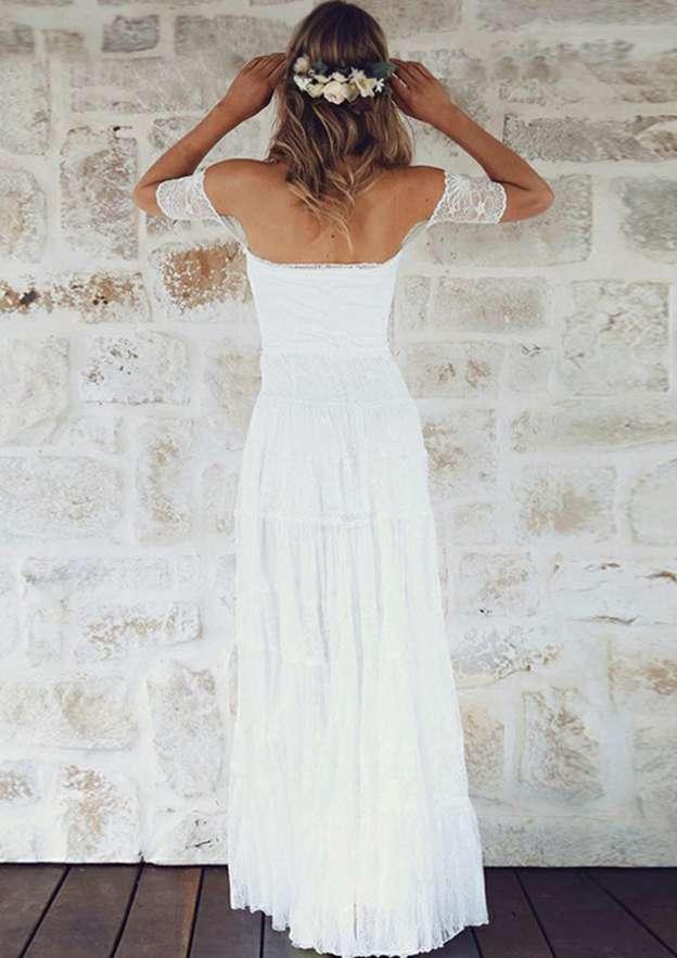 A-Line/Princess Off-The-Shoulder Short Sleeve Long/Floor-Length Lace Wedding Dress
