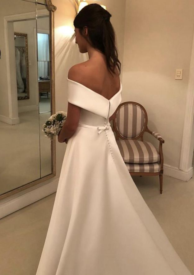 A-Line/Princess Off-The-Shoulder Sleeveless Court Train Satin Wedding Dress With Bowknot Waistband