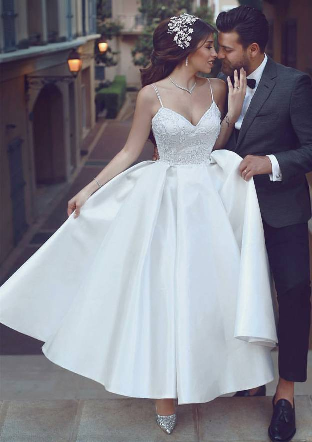 Ball Gown Sweetheart Sleeveless Ankle-Length Satin Wedding Dress With Lace