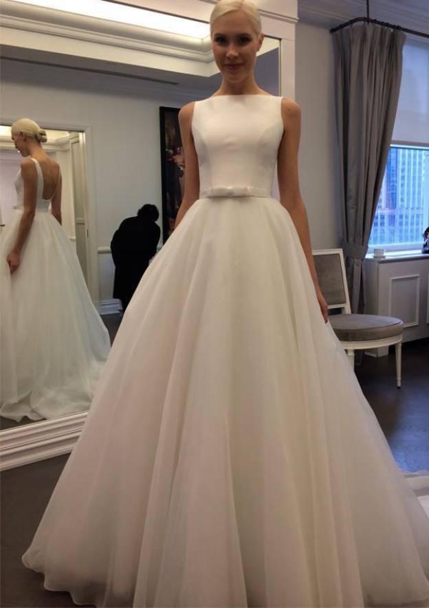 A-Line/Princess Bateau Sleeveless Sweep Train Chiffon Wedding Dress With Waistband Bowknot