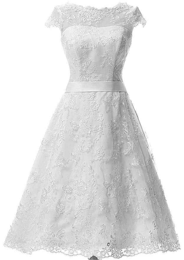 A-Line/Princess Bateau Sleeveless Tea-Length Lace Wedding Dress With Sashes
