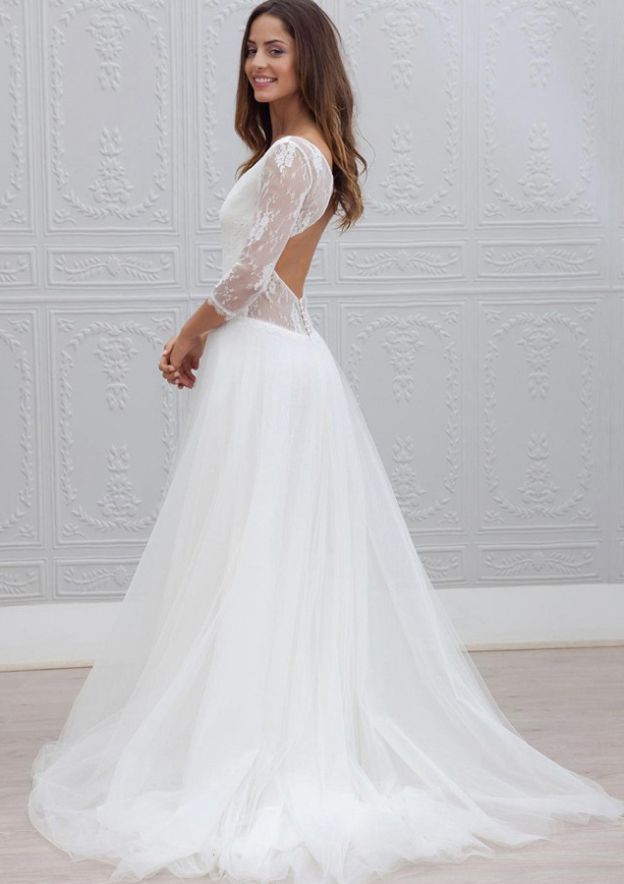 A-Line/Princess V Neck 3/4 Sleeve Sweep Train Tulle Wedding Dress With Lace