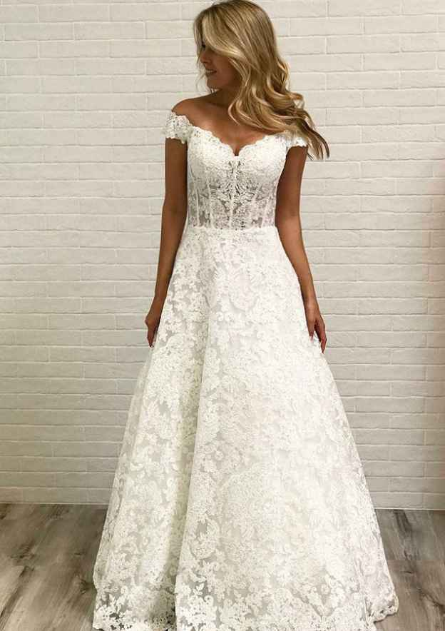 A-Line/Princess Off-The-Shoulder Sleeveless Long/Floor-Length Lace Wedding Dress