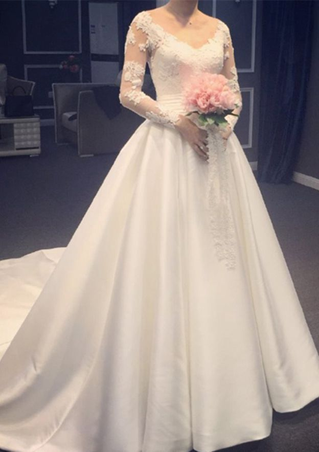 A-Line/Princess V Neck Full/Long Sleeve Chapel Train Satin Wedding Dress With Appliqued