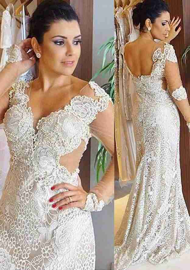 Sheath/Column Scalloped Neck Full/Long Sleeve Sweep Train Lace Wedding Dress With Appliqued