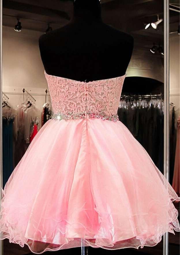 Ball Gown Sweetheart Sleeveless Short/Mini Organza Homecoming Dress With Rhinestone Lace Waistband