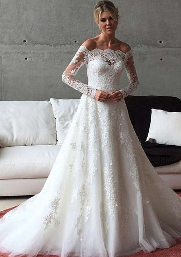 Appliqued Lace A-Line/Princess Off-The-Shoulder Full/Long Sleeve Sweep Train Tulle Wedding Dress