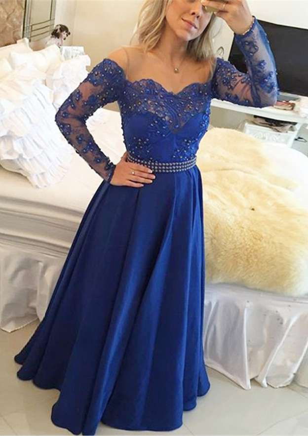 A-Line/Princess Bateau Full/Long Sleeve Sweep Train Chiffon Prom Dress With Appliqued Beading