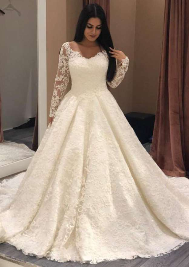 Ball Gown Bateau Full/Long Sleeve Chapel Train Lace Wedding Dress