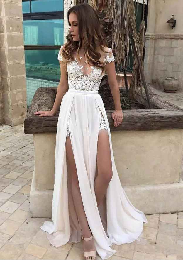 A-Line/Princess Scoop Neck Short Sleeve Long/Floor-Length Chiffon Wedding Dress With Appliqued Lace Split