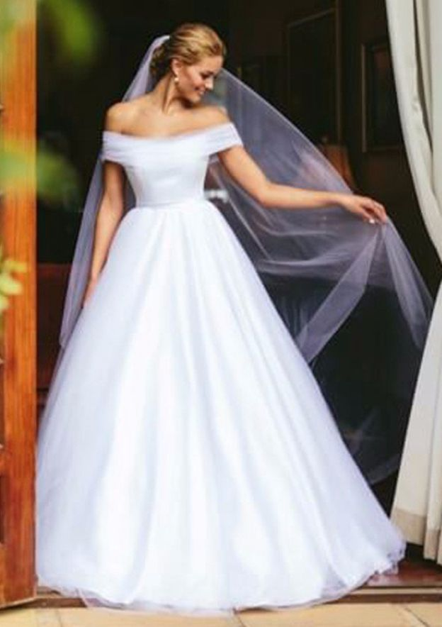 Ball Gown Off-The-Shoulder Sleeveless Long/Floor-Length Tulle Wedding Dress
