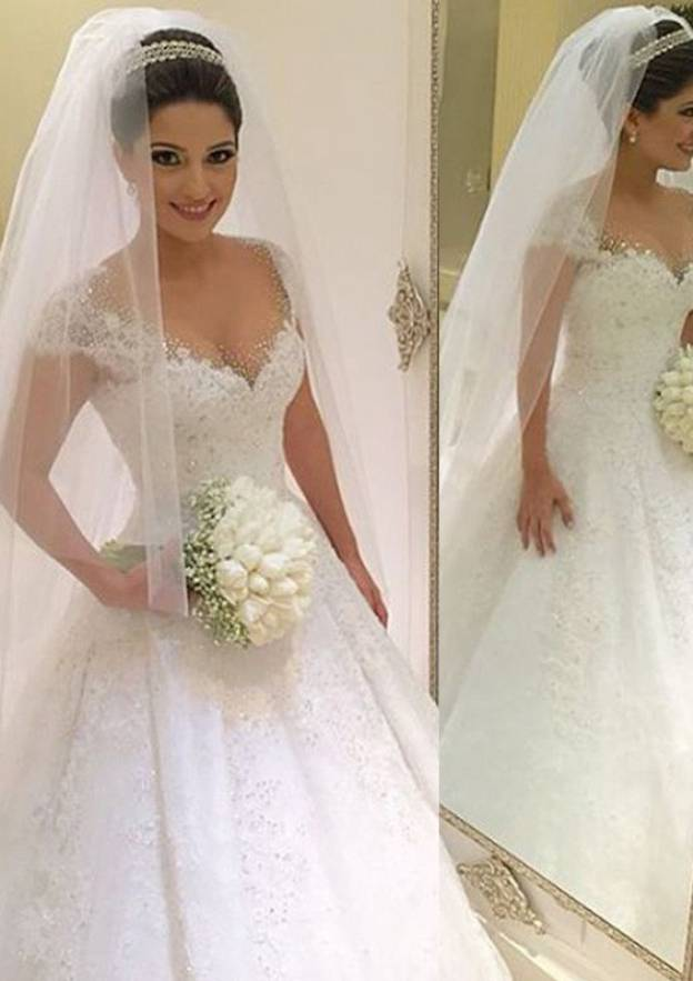 Ball Gown V Neck Sleeveless Long/Floor-Length Lace Wedding Dress With Beading