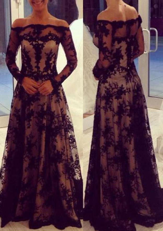 A-Line/Princess Off-The-Shoulder Full/Long Sleeve Long/Floor-Length Lace Prom Dress With Pleated
