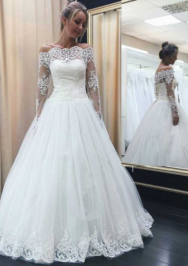 Ball Gown Off-The-Shoulder Full/Long Sleeve Long/Floor-Length Tulle Wedding Dress With Hem Appliqued