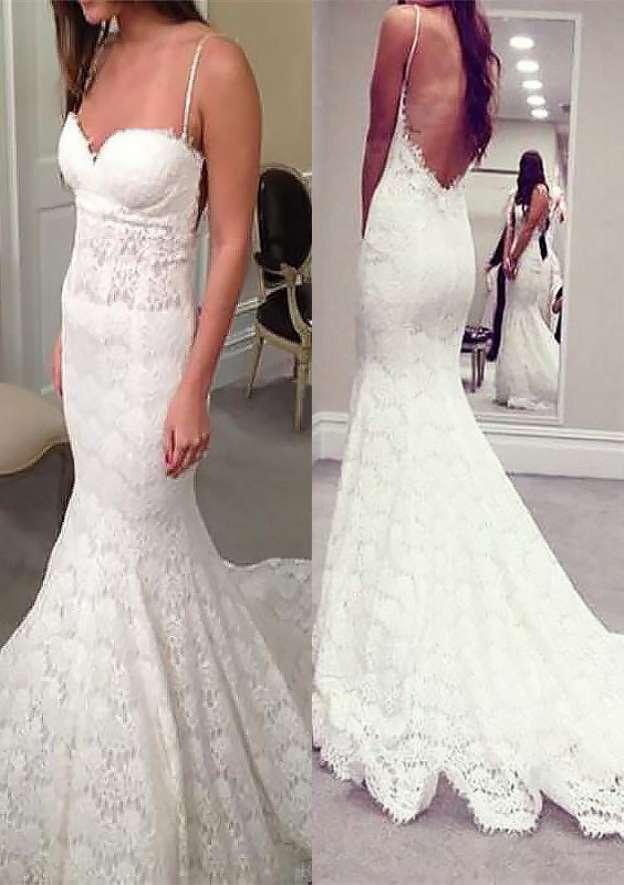 Trumpet/Mermaid Sweetheart Sleeveless Court Train Lace Wedding Dress