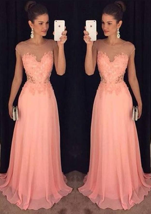 A-Line/Princess Bateau Sleeveless Sweep Train Chiffon Prom Dress With Appliqued Lace