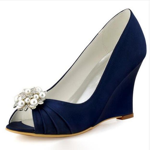 Peep Toe Wedges Wedge Heel Satin Wedding Shoes With Imitation Pearl Rhinestone