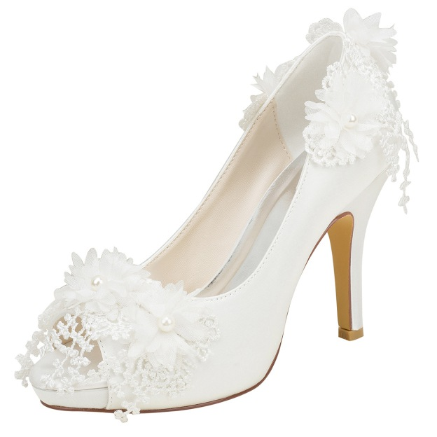Pumps Platform Peep Toe Stiletto Heel Wedding Shoes With Satin