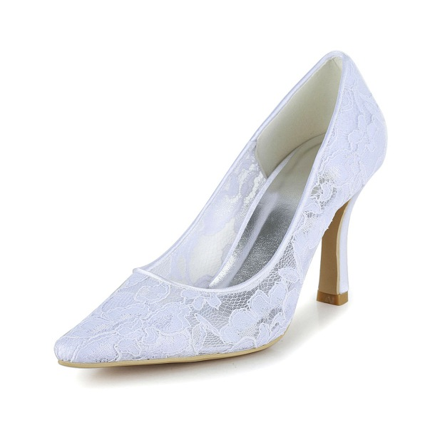 Close Toe Pumps Wedding Shoes Spool Heel Lace Wedding Shoes