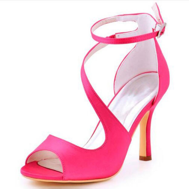 Peep Toe Pumps Sandals Spool Heel Satin Wedding Shoes With Buckle