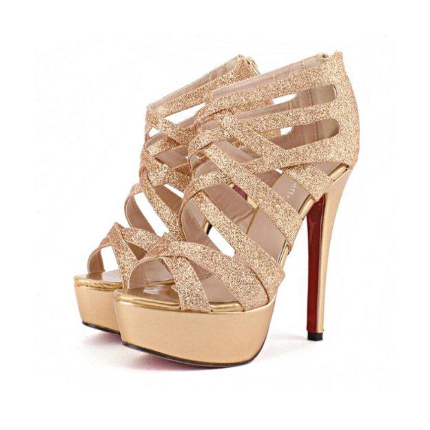 Platform Pumps Stiletto Heel Sparkling Glitter Shoes With Braided Strap