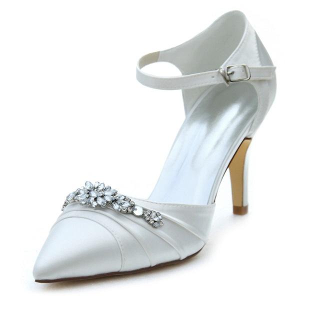 Close Toe Pumps Wedding Shoes Stiletto Heel Satin Wedding Shoes With Buckle Rhinestone