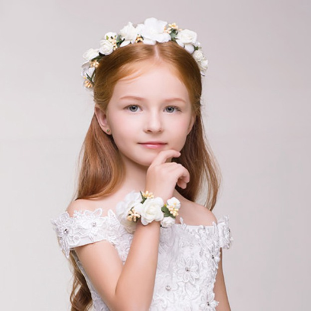 Silk Flower Child'S Flower Girl'S Headwear With Flower