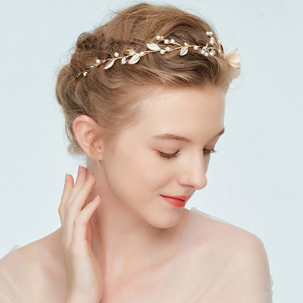 Alloy Ladies Headbands With Pearl Flower