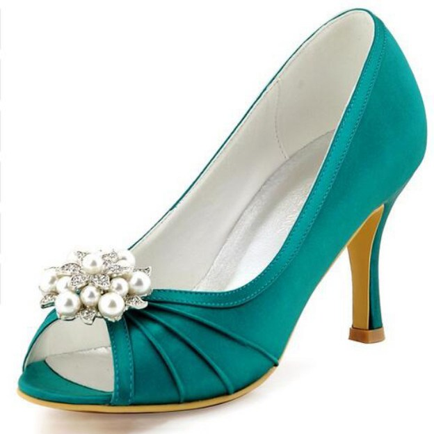 Peep Toe Pumps Spool Heel Satin Wedding Shoes With Imitation Pearl Rhinestone