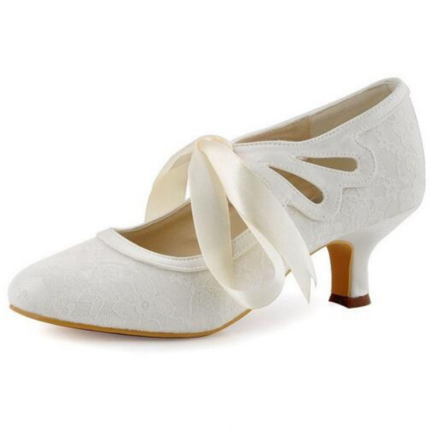 Close Toe Round Toe Kitten Heel Lace Wedding Shoes With Ribbon Tie