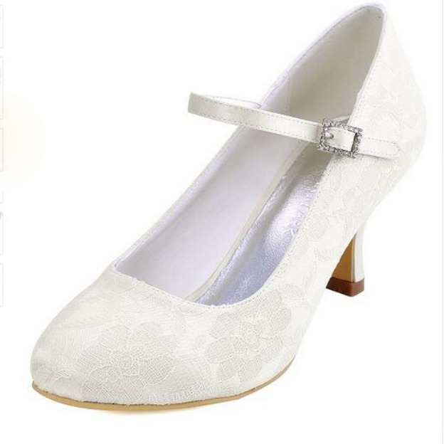 Close Toe Round Toe Spool Heel Lace Wedding Shoes With Buckle Rhinestone