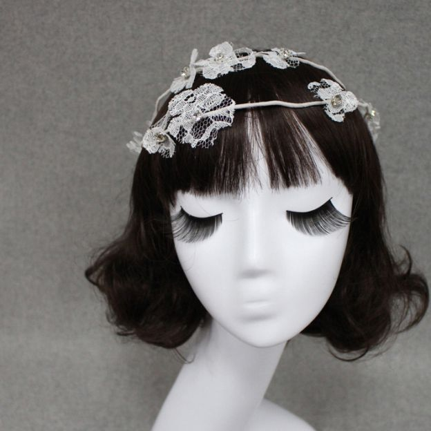 Lace Ladies Headbands With Rhinestone Flower