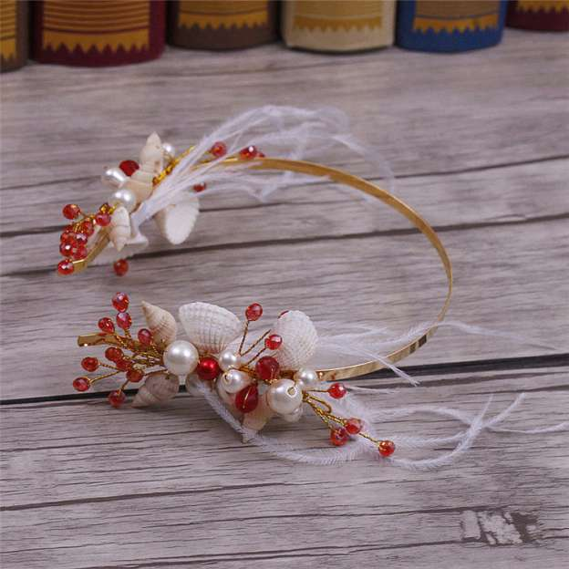 Alloy Ladies Headbands With Pearl Feather Shell