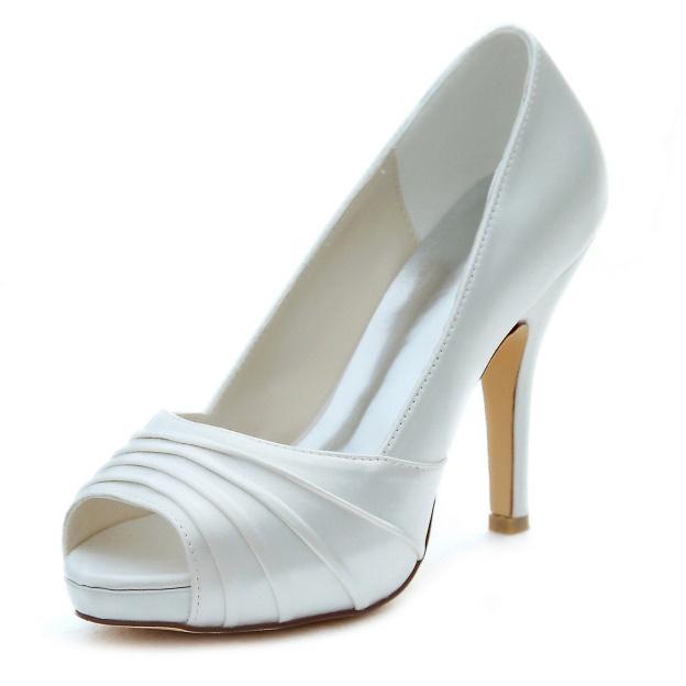 Peep Toe Platform Pumps Stiletto Heel Satin Wedding Shoes