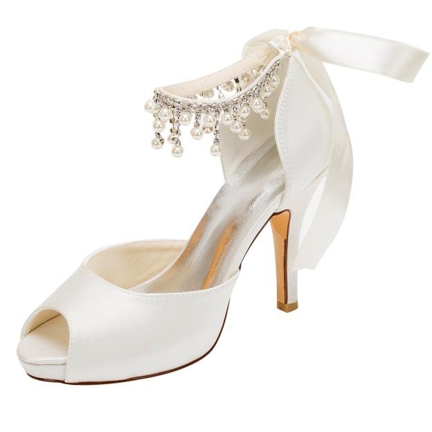Pumps Platform Peep Toe Stiletto Heel Satin Wedding Shoes With Ribbon Tie Imitation Pearl Rhinestone