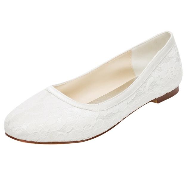 Close Toe Wedding Shoes Round Toe Flat Heel Lace Wedding Shoes