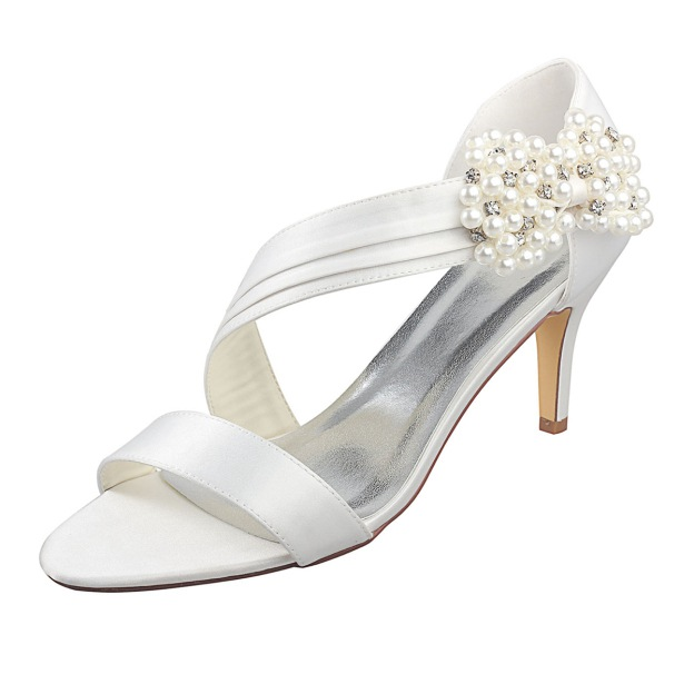 Pumps Sandals Wedding Shoes Stiletto Heel Satin Wedding Shoes With Imitation Pearl Rhinestone