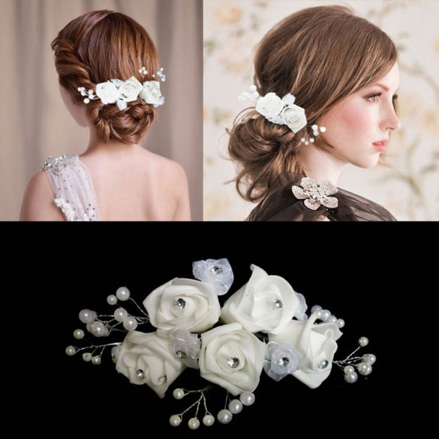 Foam Ladies Flowers & Feathers With Rhinestone Pearl