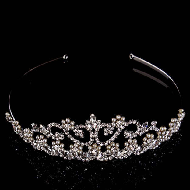 Alloy Ladies Headbands Headpieces With Rhinestone Pearl