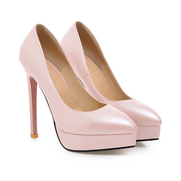 Close Toe Platform Pumps Stiletto Heel Pu Fashion Shoes