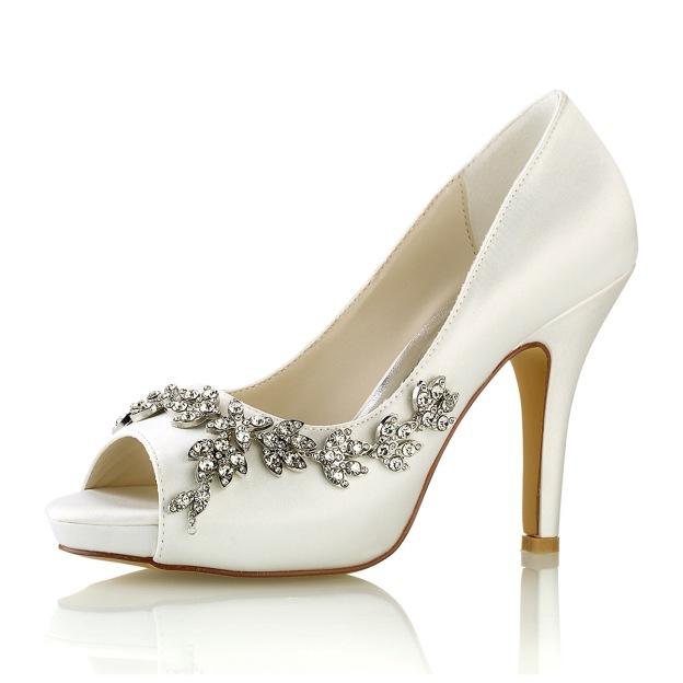 Peep Toe Platform Pumps Stiletto Heel Satin Wedding Shoes With Rhinestone