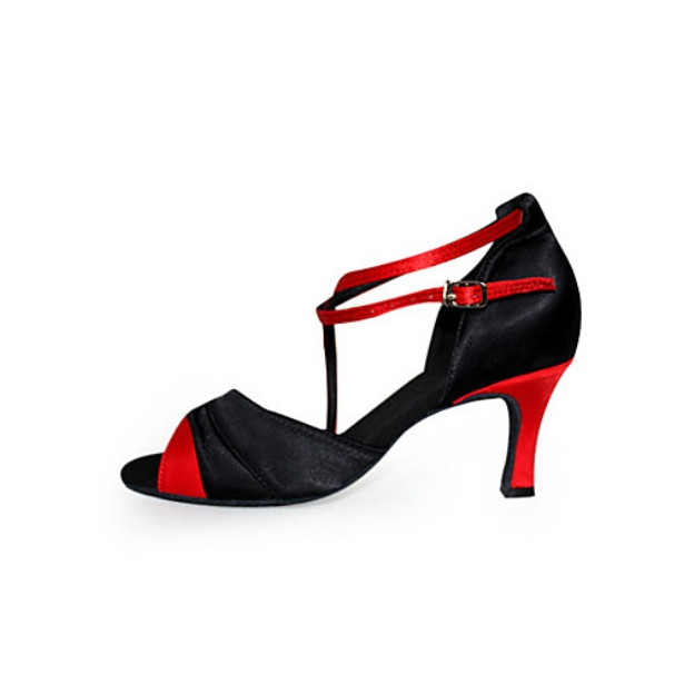 Dance Shoes Kitten Heel Satin Shoes With Buckle