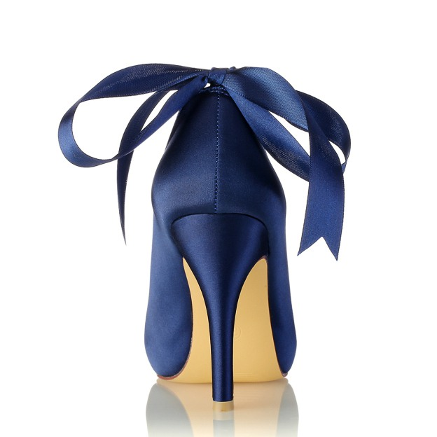 Peep Toe Platform Pumps Stiletto Heel Satin Wedding Shoes With Imitation Pearl Rhinestone Ribbon Tie