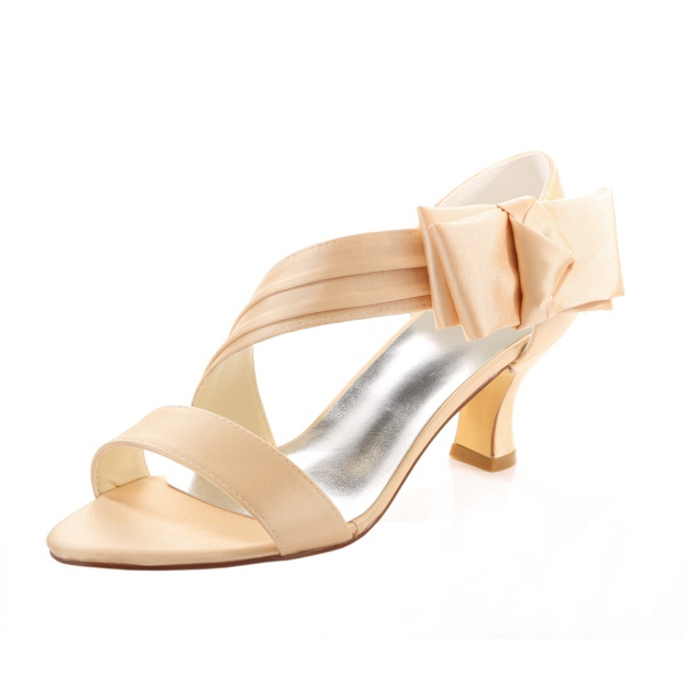 Sandals Wedding Shoes Spool Heel Satin Wedding Shoes