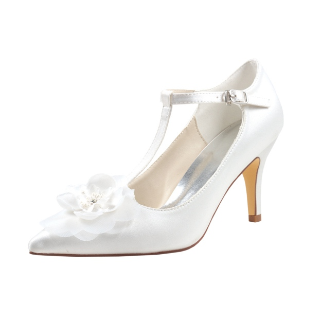 Close Toe Pumps Wedding Shoes Stiletto Heel Satin Wedding Shoes With Buckle Flowers