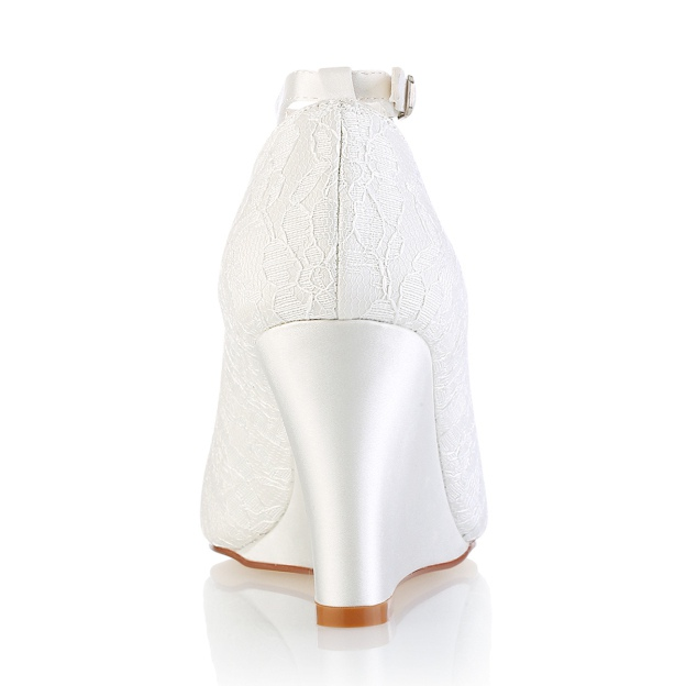 Peep Toe Wedges Wedding Shoes Wedge Heel Lace Wedding Shoes With Buckle