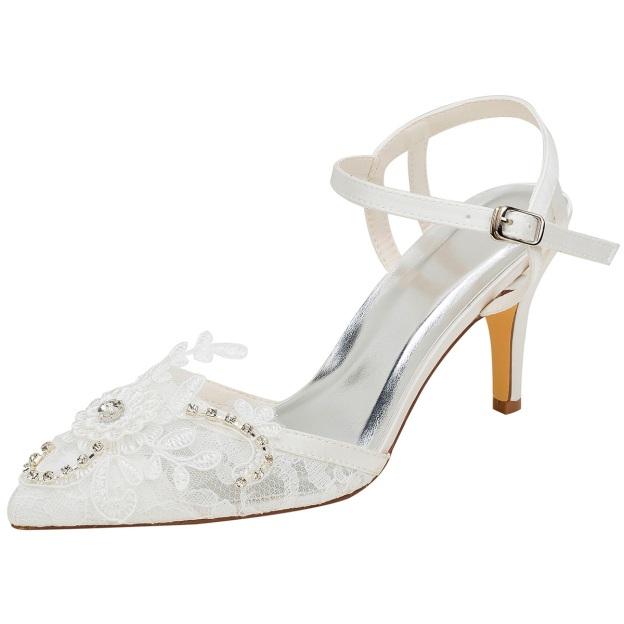 Close Toe Pumps Wedding Shoes Stiletto Heel Lace Wedding Shoes With Appliqued Buckle Rhinestone