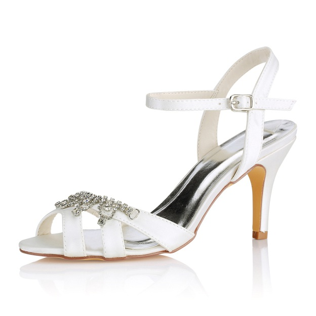 Peep Toe Sandals Slingbacks Stiletto Heel Satin Wedding Shoes With Buckle Rhinestone